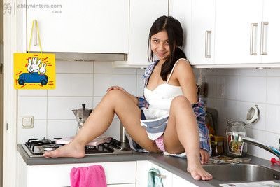 Indiant teen with hairy pussy Diah in amazing scenes of kitchen solo