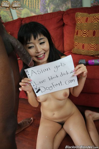 Asian girl gets fucked by massive black cock