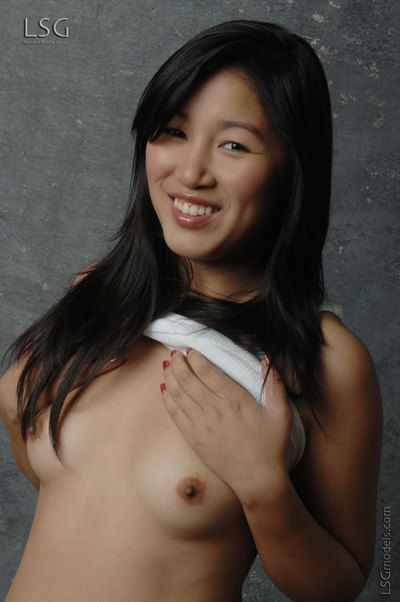 Naughty oriental cutie Keira Lsgmodels with A size tits and clean pussy strips naked