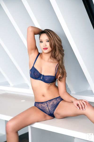 Horny asian with small tits plays naughty in superb lingerie solo