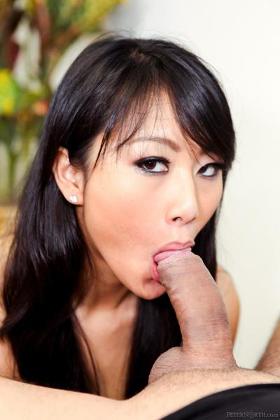 The seducing Asian bimbo Evelyn Lin opens the mouth for rock hard dick and its cum shot