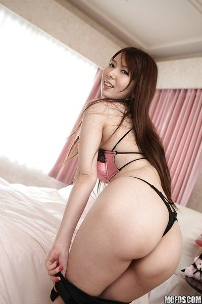 Tempting asian babe with sexy legs Yui Hatano stripping off her clothes