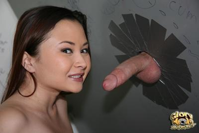 The Asian gadget Kita Zen is happy to suck the white dick in the toilet