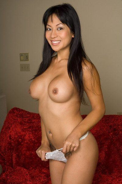 Asian cutie Gianna Lynn shows sexy tattoos, big boobs and shaved naked pussy