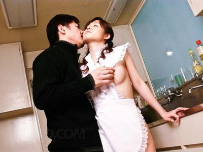 Asian cutie Moe Yoshikawa puts on a kinky maids uniform and has hardcore sex with oral pleasing