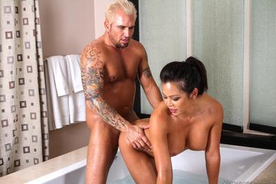 Strong tattooed man is mercilessly working up the petite pussy of Asian Mia Lelani