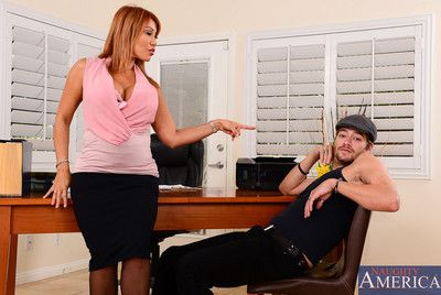 Busty milf in black stockings Ava Devine adores playing tongue over the hard piston