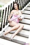 Babelicious asian Dee Lilly in sexy lingerie dildos her ass and pussy on the stairs
