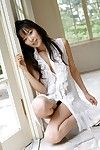 Japanese babe Yua Aida got out on balcony is sexy light dress and excitingly undressed to show off nude