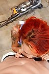 Redheaded Asian amateur Kimberly sucking and jerking large penis