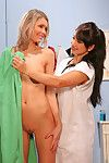 Naughty nurse Lea Lexis in uniform is smokin\' her darlings cunt with dong