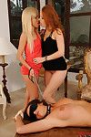 Woman-on-woman femdom with Denisa Heaven makes blindfolded slave drink pee