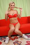 Luscious blonde Bree Olson in red lingerie plays a guitar and gets owned with a cumshot