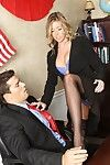 Busty Samantha Saint strips down to her blue lingerie and takes boss\' cock up her pussy