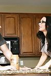 Stellar brunette in glasses Jayden wants to suck a huge cock in the kitchen