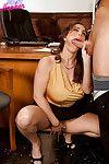 Busty MILF office worker Savannah Jane deepthroating cock while giving bj