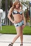 Busty breathtaker Tory Lane in high heel shoes peels off her lingerie outside