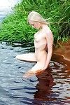 Blue eyed blonde infant with a fixed body puts on unclothed art show outdoors