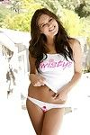 Dirty brunette cutie Nina James lifts up her white top flashing her cute small love muffins