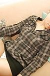 Midori Kimishima spreads her legs wide to show her hairy bawdy cleft
