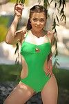 Playful Tiffany FTV in green swimsuit flashes her bawdy cleft and boobs in public place