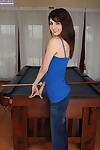 Slim teen Matti Parker shows her tight muff atop pool table in the naked