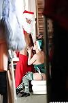 Salacious teenage girl in elf uniform benefits from banged by a naughty Santa