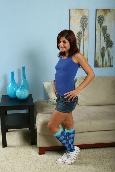 Devilish amateur Dahlia Denyle posing go-go in knee high socks and unfocused