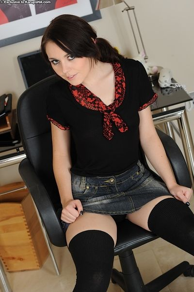 Blacklist haired teen unfocused Kacie Jay dressed thither black fingers will not hear of neat hole thither the office