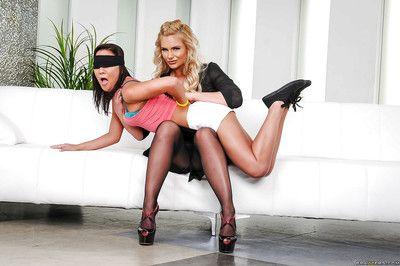 Pantyhose clad Phoenix Marie giving naught teen Amara Romani lesbo spanking