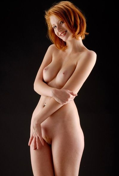 Lean young redhead close to blunt black lingerie strips and mien flawless