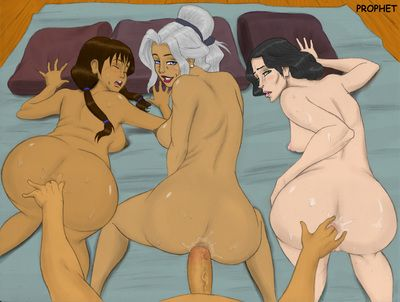 Aang, Korra and their friends fuck together