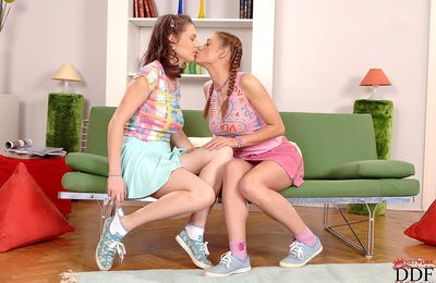 Titillating teens are horny plus there need to arouse one another\